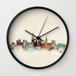 cleveland ohio skyline Wall Clock