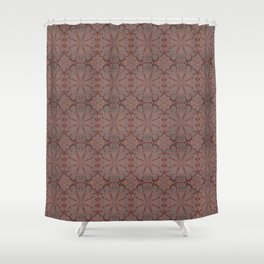 Peach Gray And Chocolate Lace Shower Curtain