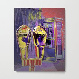 Pop Art of City Parking Meter and Phone Booth Metal Print