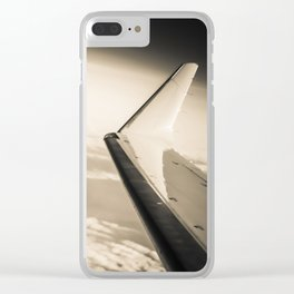 Airplane View Black and White Clear iPhone Case