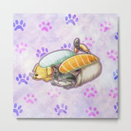 Sleepy Sushi Rolls Metal Print