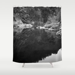 Shoreline Reflection On the Water Shower Curtain