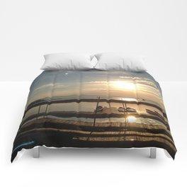 Lake Champlain Ferry to Burlington Vermont at Sunset Comforters