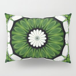 Tropical Green and White Floral Mandala Pillow Sham