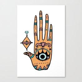 evil eye hand illustration Canvas Print
