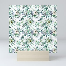 Country white green rustic watercolor floral Mini Art Print