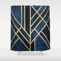 art deco Shower Curtains featuring Art Deco Midnight by Elisabeth Fredriksson