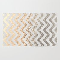 silver Area & Throw Rugs featuring GOLD & SILVER  by Monika Strigel