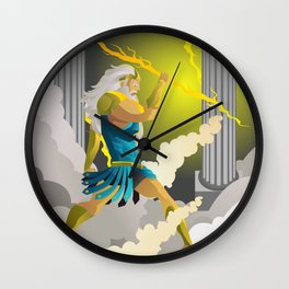 zeus jupiter god in the olympus throwing a ray Wall Clock