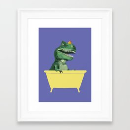 Playful T-Rex in Bathtub in Purple Framed Art Print