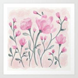 Pink Flower Cuttings Art Print