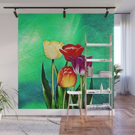 Happy Easter Greetings Tulips #society6 #flowers Wall Mural