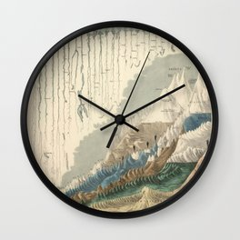 1854 Comparative Lengths of Rivers and Heights of Mountains Wall Clock