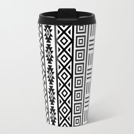 Aztec Influence Pattern Black on White Travel Mug