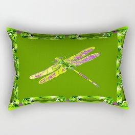 Moss Green Gemmed Dragonfly August Birthstone Art Rectangular Pillow