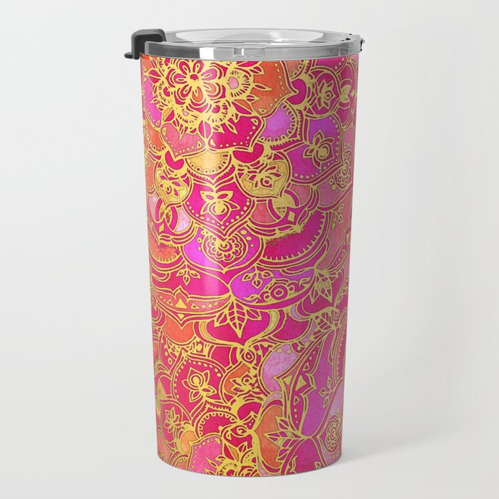 Hot Pink and Gold Baroque Floral Pattern Travel Mug