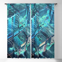 Fantastic Futuristic City Grid Blueish Shade Anime Scenery Ultra High Definition Blackout Curtain