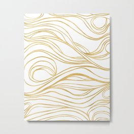 Gold Shimmer Swirls - Abstract Waves Metal Print