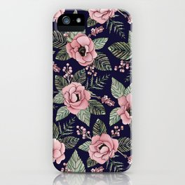 Pink, Green & Navy Blue Floral/Botanical Pattern iPhone Case