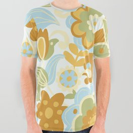 1970s Light Paisley Pattern All Over Graphic Tee