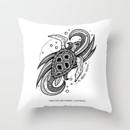 Sea Turtle- Latin Sayings (Dead Language) Throw Pillow