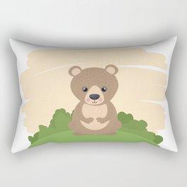 Cute Bear In A Nature Frame Rectangular Pillow