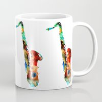 saxophone Mugs featuring Colorful Saxophone By Sharon Cummings by Sharon Cummings
