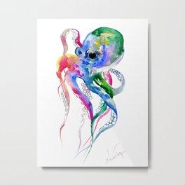 Rainbow Octopus, blue green octopus decor Metal Print