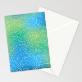 transparent white zen pattern blue gradient Stationery Cards