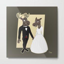 Moose Wedding Cartoon Metal Print