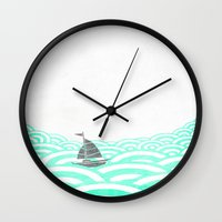 boat Wall Clocks featuring boat by lazy albino