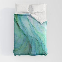 Sea Green Flowing Waves Abstract Ink Painting Comforters