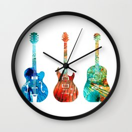 Abstract Guitars by Sharon Cummings Wall Clock