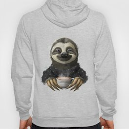 Sloth smilling with coffee latte Hoody