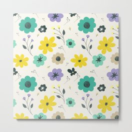 Modern ivory lime green teal violet floral illustration Metal Print