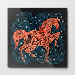Red Wild Horse Metal Print