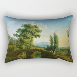 Italian Landscape with a Bridge and View of Monte Sarchio by Jakob Philipp Hackert Rectangular Pillow