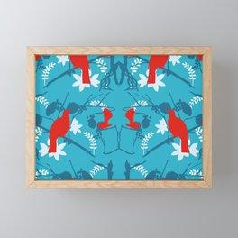 NZ Native Red Kereru (Wood Pigeon) and Fantail on Blue Framed Mini Art Print
