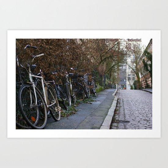 Bicycles on a cobble stone road, Hamburg, Germany 2009 Art Print