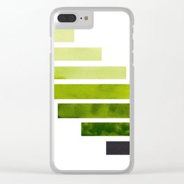 Green Minimalist Mid Century Modern Inca Watercolor Stripes Staggered Symmetrical Pattern Clear iPhone Case