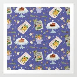 Tea time pastel pattern - BLUE Art Print