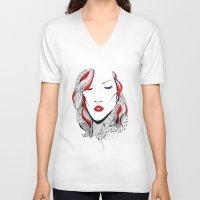 rihanna V-neck T-shirts featuring Rihanna  by Ina Spasova puzzle
