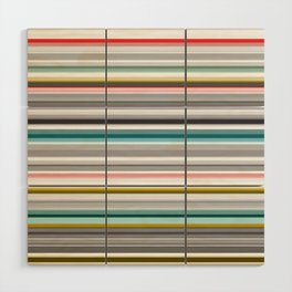 grey and colored stripes Wood Wall Art
