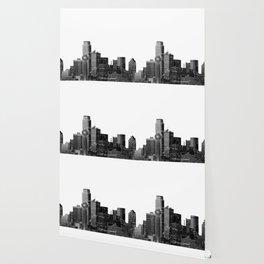 Dallas Texas Skyline in Black and White Wallpaper