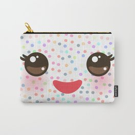 Kawaii funny muzzle with pink cheeks and eyes on white polka dot background Carry-All Pouch