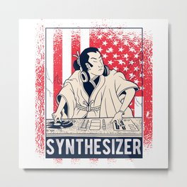 Vintage synthesizer with USA flag for dj techno Metal Print