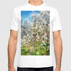 Almond Orchard Blossom White MEDIUM Mens Fitted Tee