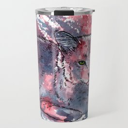 Cat acrylic painting, animal abstract portrait Travel Mug