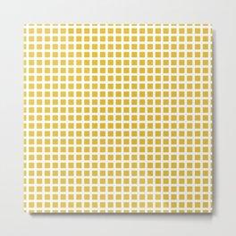Grid Pattern 312 Mustard Yellow Metal Print