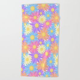 Floral Daisy Dahlia Flower Beach Towel
